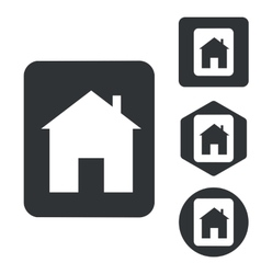 House plate icon set monochrome vector