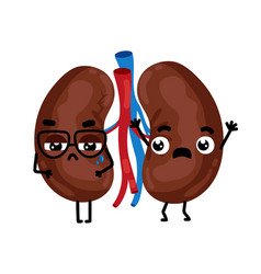 Human sick kidneys cartoon character vector