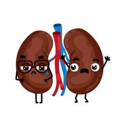 human sick kidneys cartoon character vector image