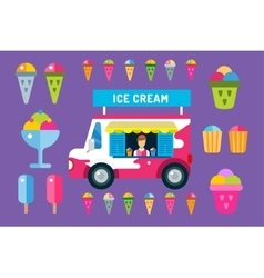Ice cream truck van and icons set vector