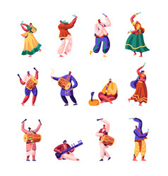 indian street artists set musicians and dancers vector image