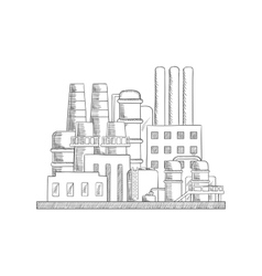 Industrial refinery factory sketch vector image