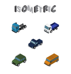 isometric car set of autobus lorry suv and other vector image