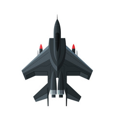 Jet military aircraft airplane view from above vector