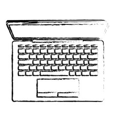 laptop computer on top view in black blurred vector image