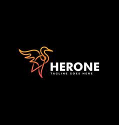 Logo heron line art style vector