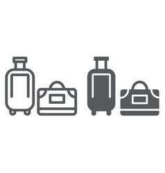 luggage line and glyph icon travel and baggage vector image