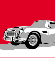 luxury vintage car on red background vector image