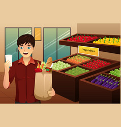 Man shopping at the grocery vector