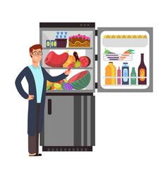 man thinking snacking sausage at fridge vector image