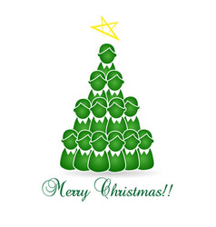 Merry christmas tree kids and children vector