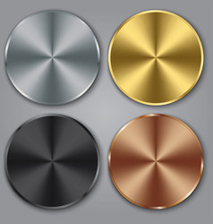 metal templates set with texture button set vector image
