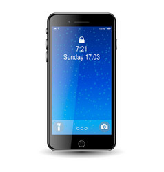 mobil phone with blue screen with bubbles vector image