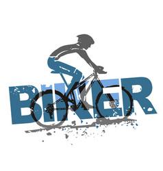 mountain bike rider grunge stylized vector image