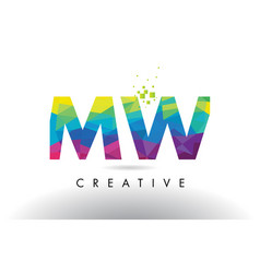 mw m w colorful letter origami triangles design vector image