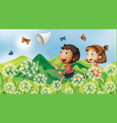 Nature scene background with children catching vector
