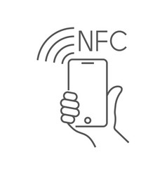 Nfc technology payment ounline icon hand vector