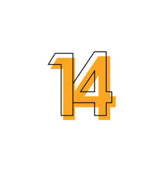 Number 14 template design design for anniversary vector