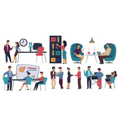 Office workers business meeting and coffee break vector