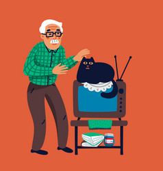 Old man with his cat grandfather petting his vector