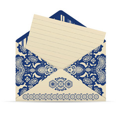 Open decorative cute envelope with letter vector