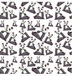 panda on seamless pattern vector image