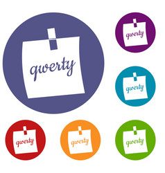 paper sheet with text qwerty icons set vector image