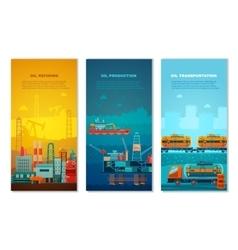 Petroleum Industry Vertical Banners Set vector