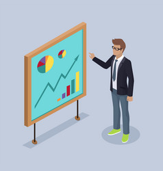 presenter man with whiteboard vector image