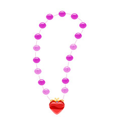 Princess necklace pearls heart-shaped pendant vector