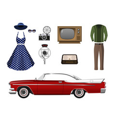 retro things set vintage objects vector image