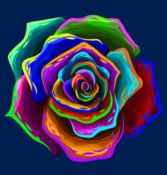 Rose abstract multi-colored flower vector