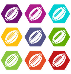 rugby icons set 9 vector image
