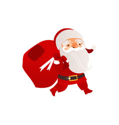santa claus carrying bag with christmas presents vector image