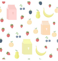 Seamless background with yoghurt and fruits vector