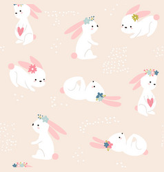 seamless childish pattern with cute rabbits vector image
