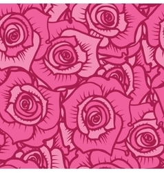 Seamless pattern of pink roses with burgundy lines vector image