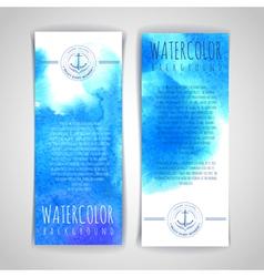 Set blue artistic watercolor backgrounds vector