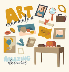 set icons art expertise theme ancient items vector image
