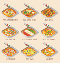 set italian pizza in boxes 9 item different vector image