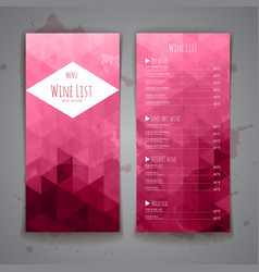 Set of Abstract triangle wine menu background vector image