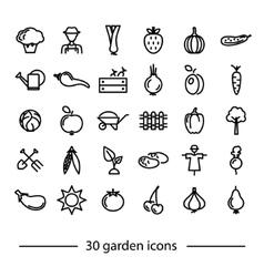 Set of garden line icons vector