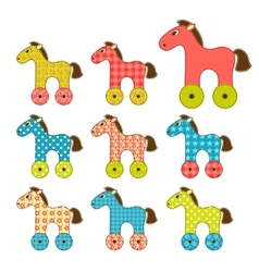 Set of patchwork horses 2 vector image