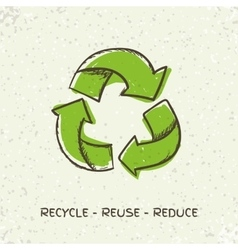 Sketch doodle recycle reuse symbol isolated vector