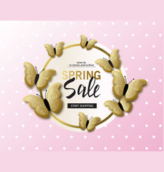 spring sale banner background template with vector image