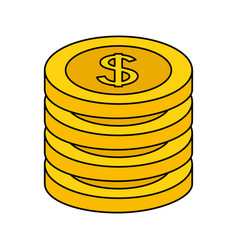 stack coins dollar money on white background vector image
