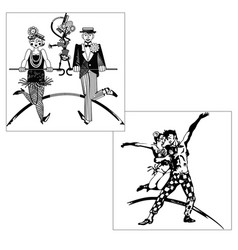 Tap dancing silhouettes vector