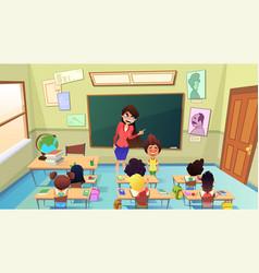 Teacher scolding pupil in class cartoon vector