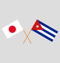 The japanese and cuban flags vector