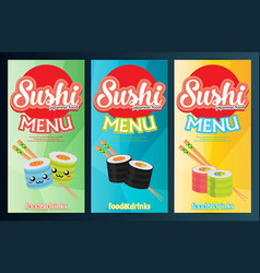 Three colorful banner template sushi vector